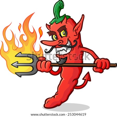 Hot Chili Pepper Devil Cartoon Character - stock vector