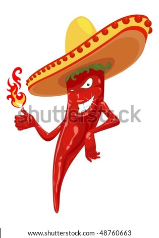 hot chili pepper with fire - stock vector