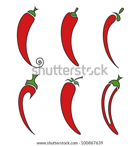 Hot chilli pepper vector set isolated on white background. - stock vector