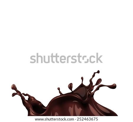 Hot chocolate splash  on white background. Easy to edit. Vector eps 10 - stock vector