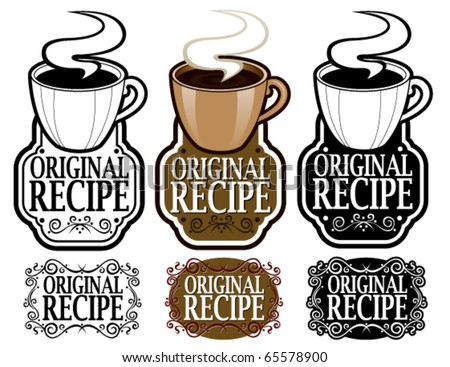 Hot Cocoa Cup in Original Recipe Seal - stock vector