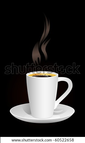 Hot coffee on the black background. Vector illustration. - stock vector