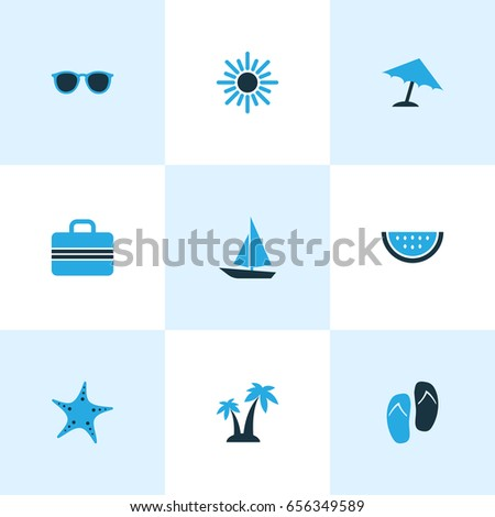 Hot Colorful Icons Set. Collection Of Watermelon, Sunglasses, Umbrella And Other Elements. Also Includes Symbols Such As Melon, Watermelon, Sun.