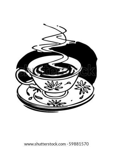 Hot Cup Of Coffee - Retro Clip Art - stock vector
