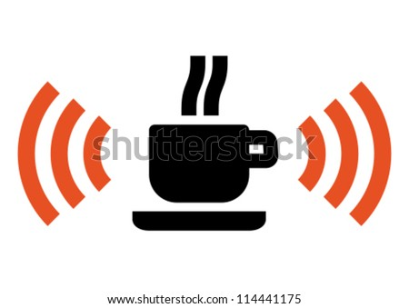 Hot cup with Wi-Fi wireless signal - stock vector