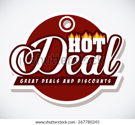 Hot deal design over white background, digitally generated image