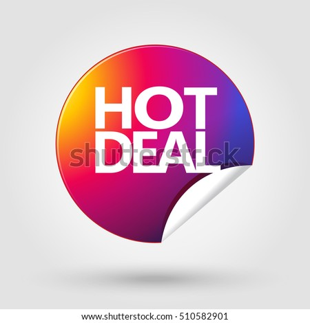 Hot Deal icon. Sale tag. Sale sticker. Label. Hot Price sign Instagram logo color. 2017 Sale discount banner. Marketing. Vector Shopping. Sale discount - sticker with shadow. Advertising. Girl. Offer