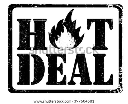 hot deal stamp on a white, vector illustration