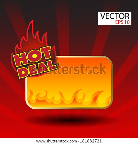 Hot deal sticker  with flames - stock vector