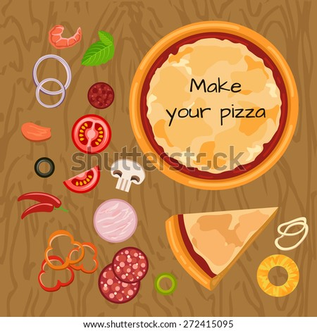 Hot delicious tasty pizza in flat style. Vector illustration of pizza and ingredients: tomato; salami; pepperoni; ham; calamari; mushroom; pepper; onion; pineapple, shrimp, olive. - stock vector