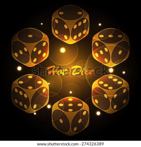 Hot dice gold and black glowing background. - stock vector