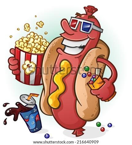 Hot Dog at the Movies Cartoon Character - stock vector