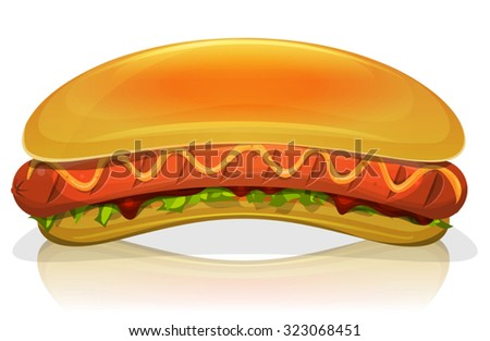 Hot Dog Burger Icon/ Illustration of an appetizing cartoon fast food hot dog burger icon, with frankfurter sausage, mustard sauce, salad leaves, ketchup and long bread buns, for takeout restaurant - stock vector