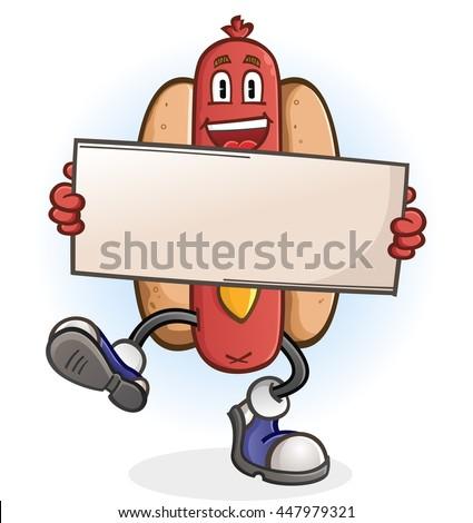 Hot Dog Cartoon Character Holding a Sign - stock vector