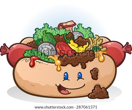Hot Dog Cartoon Character with Toppings - stock vector