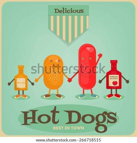 Hot Dog Cartoon - Funny Sausage, Bun, Mustard and Ketchup. Vector Illustration. - stock vector