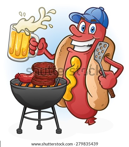 Hot Dog Cartoon Tailgating with Beer and BBQ Cartoon Character - stock vector