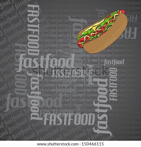 hot dog dark art page - stock vector