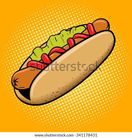Hot dog fast food pop art style vector illustration. Comic book style imitation - stock vector