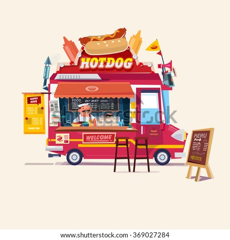 Hot Dog Food Truck Street Concept With Merchant Character Design