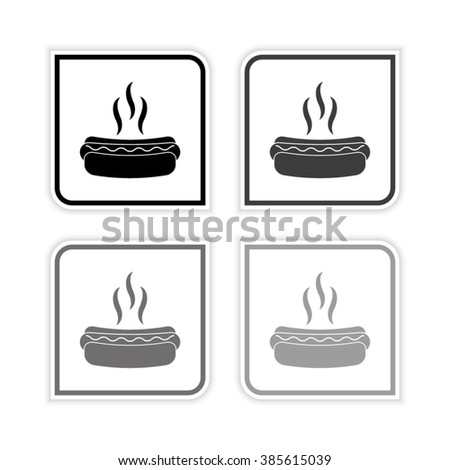 Hot dog -  grayscale vector icon - stock vector