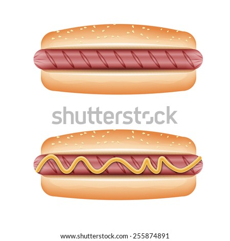Hot dog grill with mustard isolated on white background. - stock vector