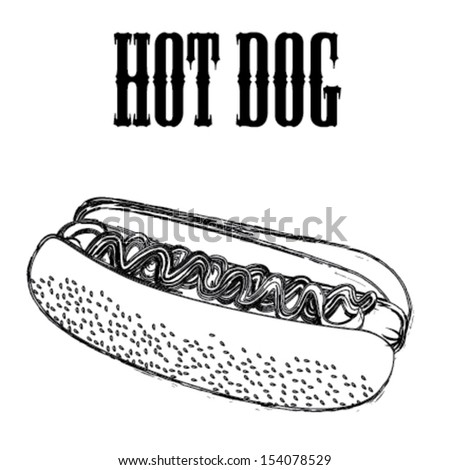 hot dog label over white background vector illustration - stock vector