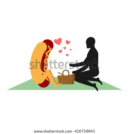 Hot dog on picnic. date in Park. Fast food and people. Rural jaunt in love with food. Meal in nature. Plaid and basket for food on lawn. Man and  muffin with sausage. Romantic meal illustration - stock vector