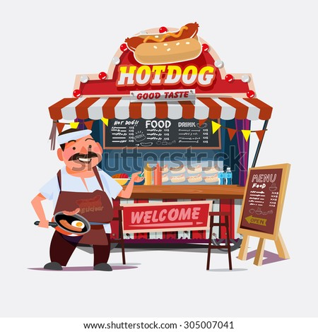 hot-dog outdoor cart with seller. chef character desgin - vector illustration - stock vector