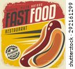 Hot dog retro poster design concept. Unique vector template for delicious fast food. Restaurant menu cover on old paper texture.  - stock vector