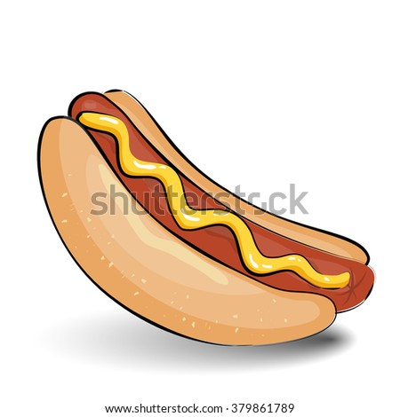 Hot dog, sausage with mustard, isolated on white background - stock vector