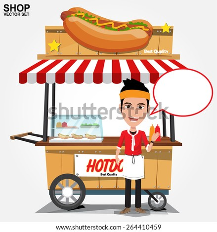 hot dog street cart with seller.vector - stock vector
