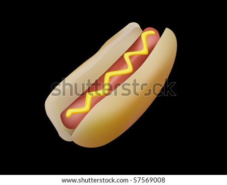 Hot dog with mustard. - stock vector