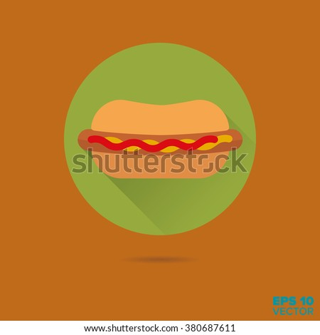 Hot dog with mustard and ketchup flat design vector icon