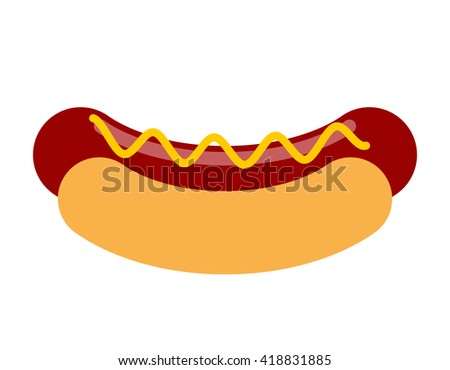 Hot dog with mustard isolated. Bun and sausage on white background. Fast food. Illustration food - stock vector