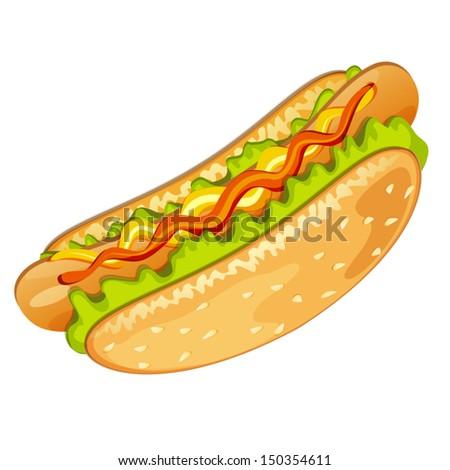 Hot dog with salad mustard and ketchup - stock vector