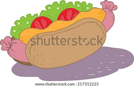 hot dog with tomato,frankfurter and mustard   - stock vector
