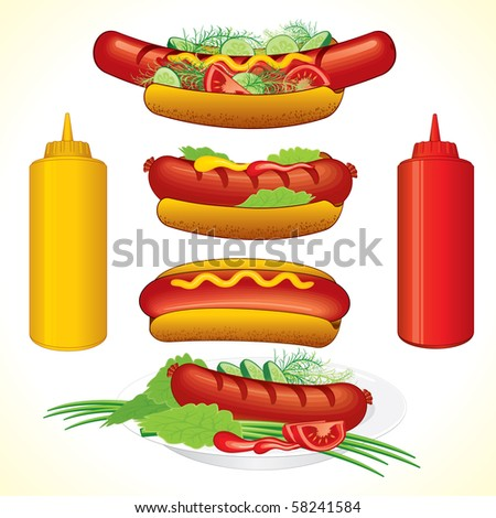 Hot dogs illustrations, detailed vector, all elements separated and grouped - stock vector