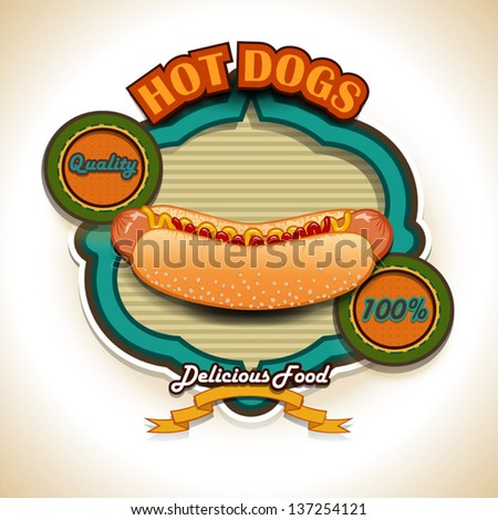 Hot dogs label vector illustration-transparency blending effects and  gradient mesh-EPS10. Grunge effects can be removed. - stock vector