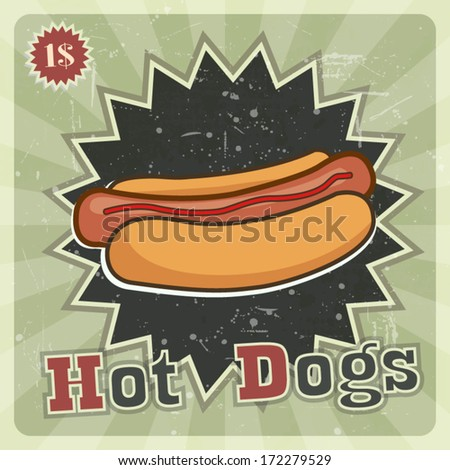 Hot dogs vintage retro style label green design for fast food cafe poster - stock vector