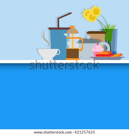 Hot drink and cake still life set in flat design vector illustration. Can be use for design elements, poster, flyer and menu layout