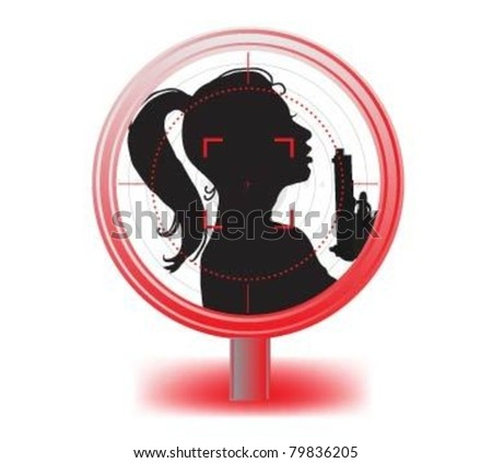 Hot Female Special Agent with weapon in optical sight. . - stock vector