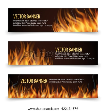 Hot fire advertisement vector horizontal banners set.