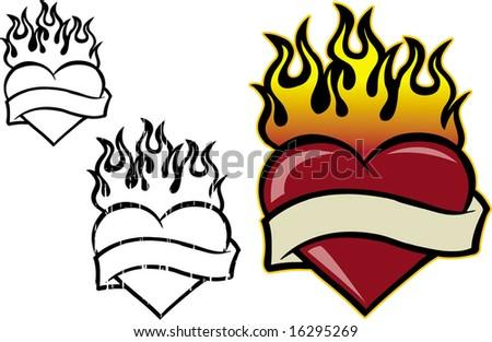 Hot flaming love - stock vector