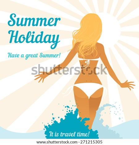 Hot girl on a beach. Vector illustration - stock vector
