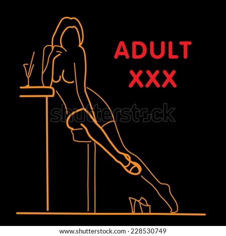Hot girl sitting in a Bar. Vector illustration. - stock vector