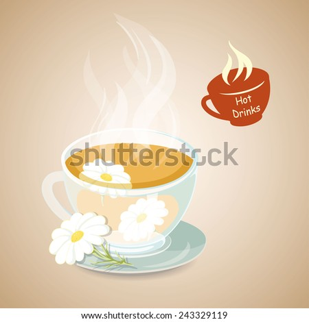 Hot herbal tea with chamomile. Hot drinks icon. Vector illustration. - stock vector
