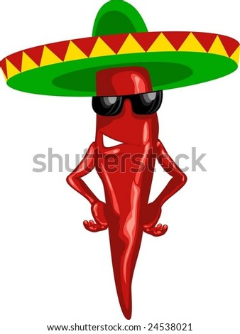 hot mexican chili green sombrero - stock vector