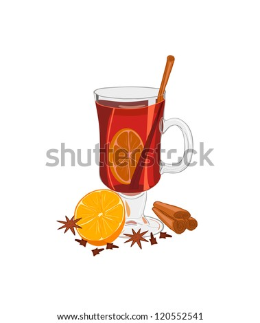 Hot mulled wine with oranges, anise, cloves and cinnamon. Isolated on white - stock vector