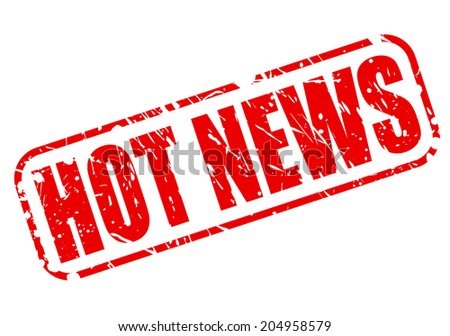 HOT NEWS on red stamp text on white - stock vector